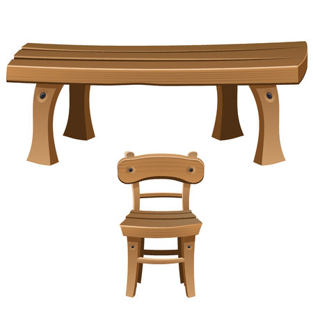 wooden chair: Set of wooden furniture for interior. Chair and table