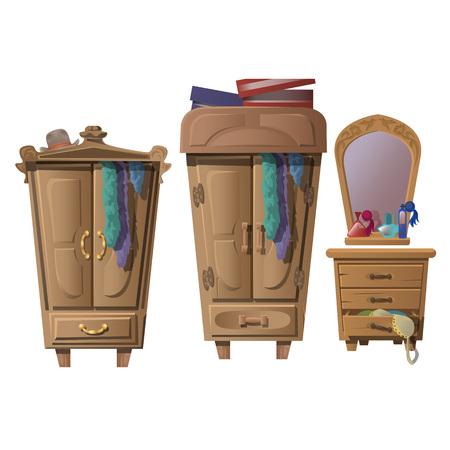 Conjunto de muebles de madera en el vestidor, la composición del vector