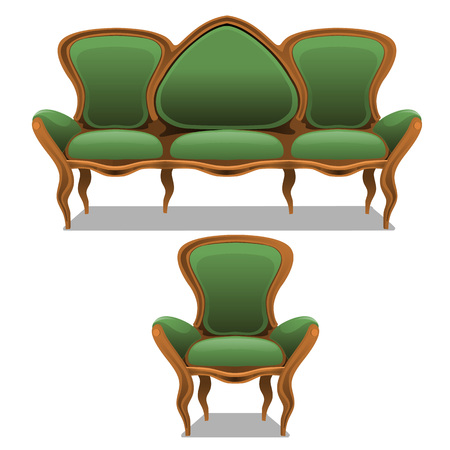arredamento classico: Vintage green furniture, armchair and sofa on a white background Vettoriali