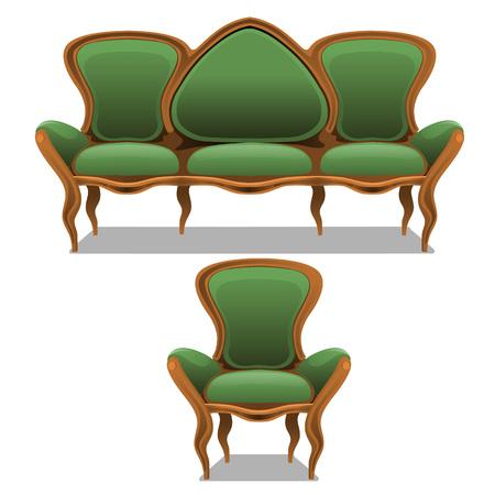 Vintage verde muebles, sillón y un sofá sobre un fondo blanco Ilustración de vector