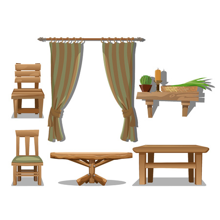 Big set of old wooden furniture in Wild West style. Decor items