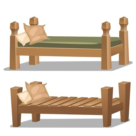 dormitory: Simple single wooden bed. Two elements interior design in cartoon style