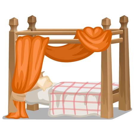 Bed with orange canopy. Interior items in cartoon style Illustration