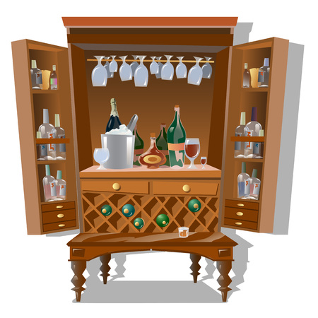arrange: Large cabinet bar with bottles and kitchenware, vector isolated cartoon style