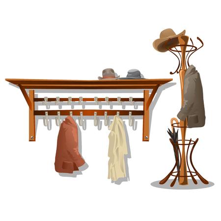 Muebles en el vestidor, ganchos para colgar ropa en el pasillo. ilustrador vectorial