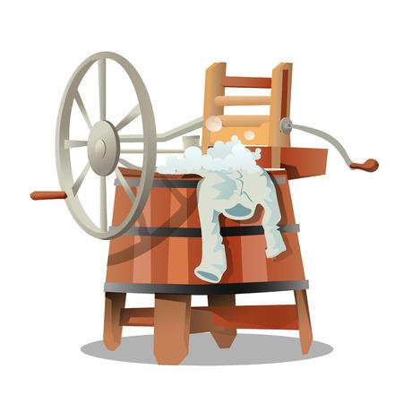 pail tank: Vintage mechanical washing machine in cartoon style. Vector illustration