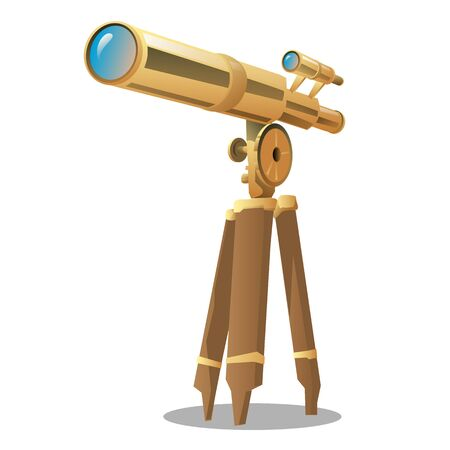 finding: Golden optical telescope on a tripod. Vector illustration isolated