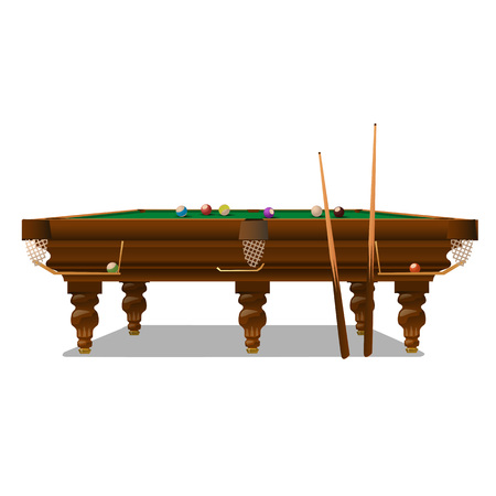 cues: Billiard table with cues on a white background. Vector illustration Illustration