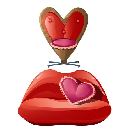 romance bed: Romantic furniture of interior, sofa and chair, symbols of flirting and love Illustration