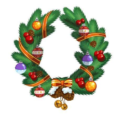 prickly fruit: Christmas wreath with ball, pinecone and ribbon, Christmas decor
