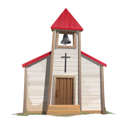 Old Catholic Church with bell tower, vector illustration  イラスト・ベクター素材