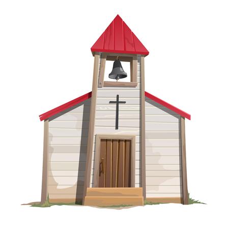 Iglesia católica vieja con la torre de campana, ilustración vectorial