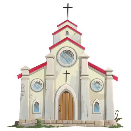Oude stenen katholieke kerk in cartoon stijl, vector illustratie