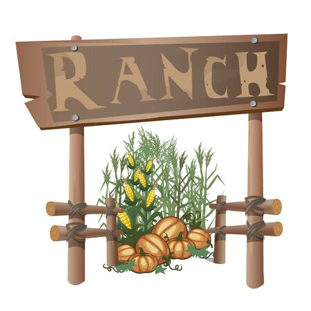 homestead: Entrance to the ranch, sign with text and harvest of corn and pumpkins Illustration