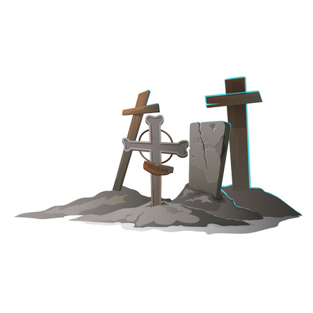 graves: Graves with crosses on a white background, vector illustration Illustration