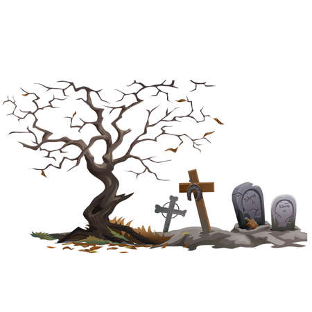 graves: Dry dead tree and cemetery with graves, vector composition