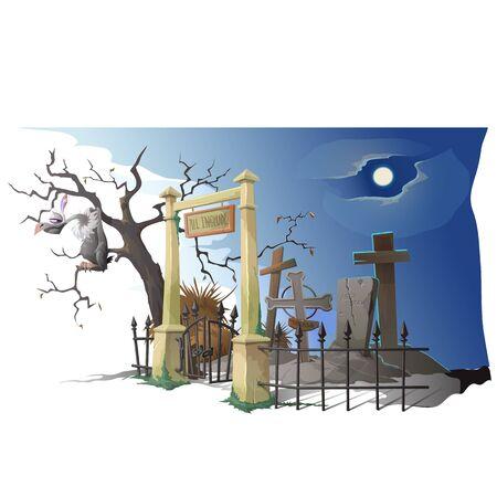 creador: Buitre se sienta en �rbol cerca del antiguo cementerio. escena creador