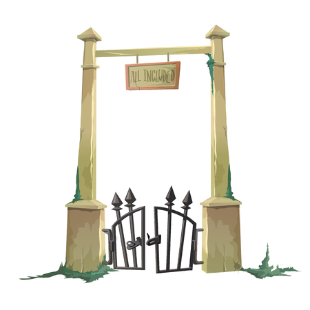 hacked: Gate to the old cemetery hacked. Vector illustration