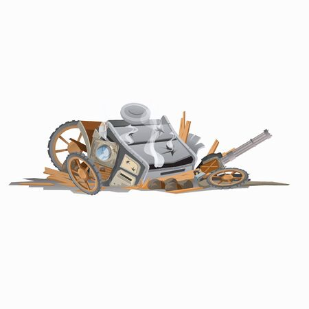 brigand: Wreckage of carriage, image in cartoon style. Vector illustration Illustration