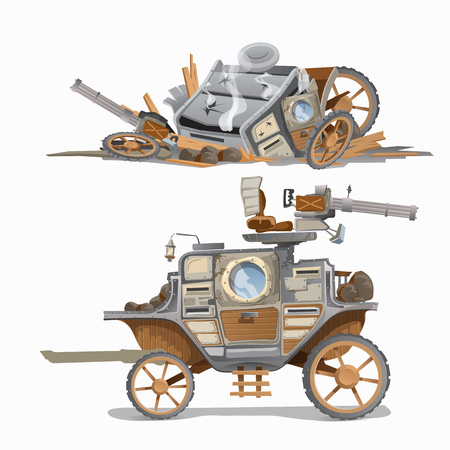 wrecked: Armed carriage and wrecked it. Vector illustration