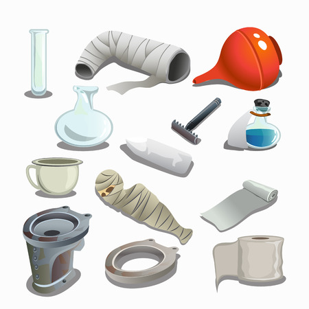 infirmary: Attributes of hospital, gypsum, bandages, flasks and other items