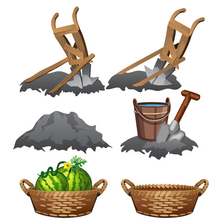 humus: Stages of preparation of soil and harvest of watermelons Stock Photo
