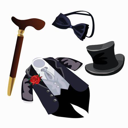 Luxury mens formal attire, tuxedo and accessories, vector fashion set
