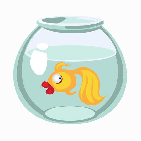 Cartoon golden fish in aquarium. Vector illustration isolated
