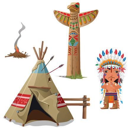 tepee: Indian, wigwam, bird totem and fire. Vector set of attributes of Indian culture