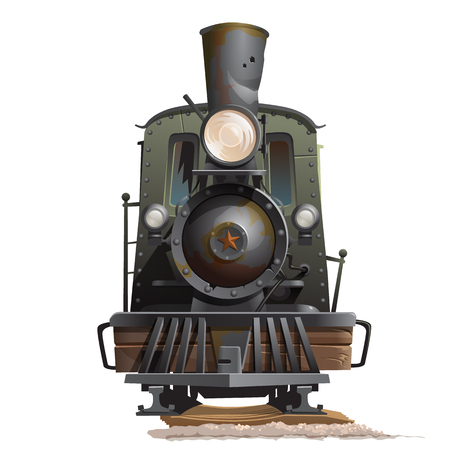 Old train locomotive, front view. Vintage transport vector