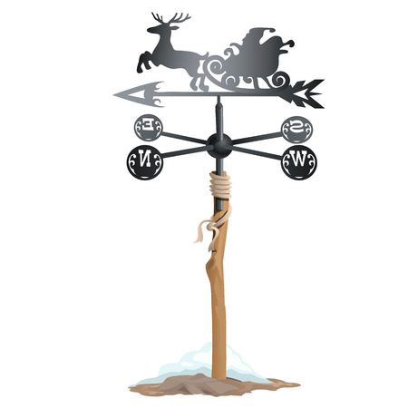 weathervane: Wrought iron weathervane in form of sleigh with Santa Claus. Vector isolated