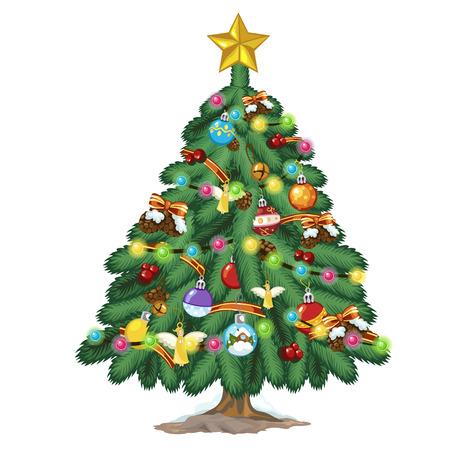 Albero di Natale con giocattoli colorati e stella d'oro in cima. Illustrazione vettoriale Vettoriali
