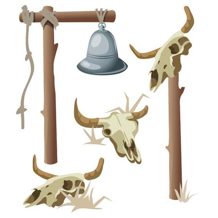 intimidating: Hanging bell and three bull skulls. Vector illustration