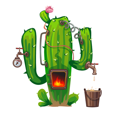alcoholic beverage: Device of cactus, cooking alcoholic beverage. Vector in cartoon style