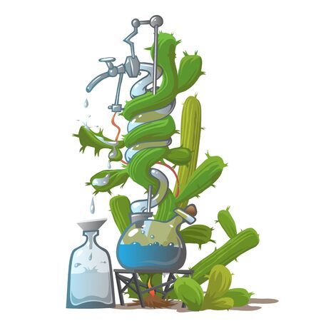 moonshine: Moonshine from cactus, funny vector image in cartoon style Illustration