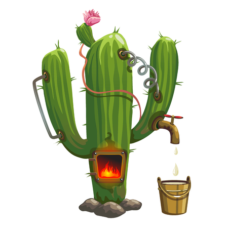 illegal: Distiller inside cactus. Illegal trade of tequila. Cartoon style Illustration