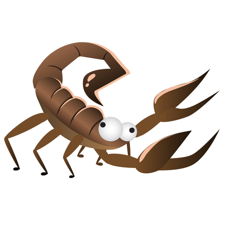zodiac anger: Cartoon brown funny Scorpio. Vector illustration isolated