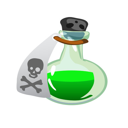antidote: Cartoon potion bottle. Vial with green liquid, game icons, GUI asset