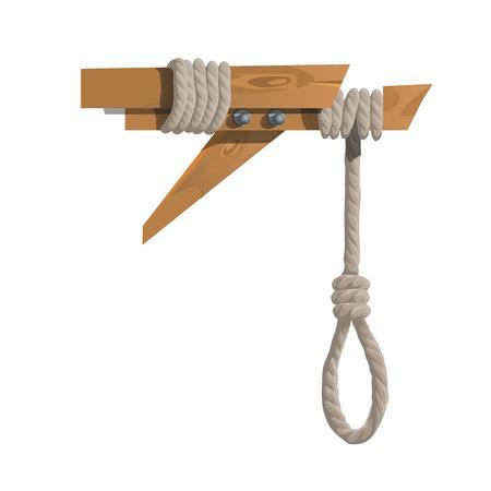 ahorcado: ahorcado en una viga de madera sin que nadie. ilustración vectorial