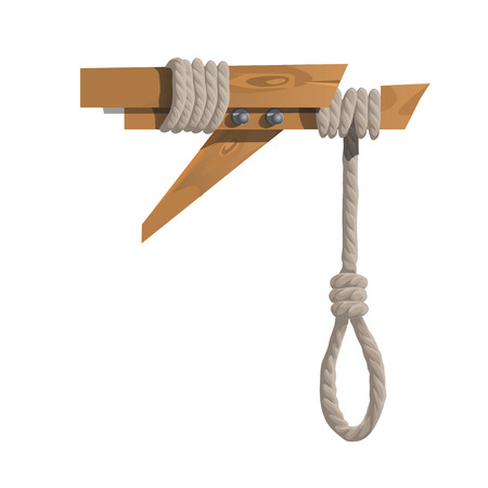 persecution: hangman on a wooden beam without anyone. Vector illustration