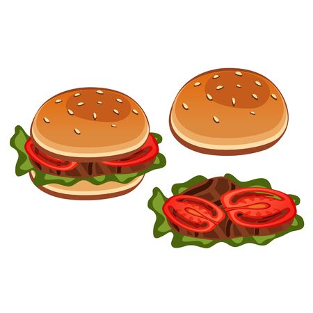 intact: Intact sandwich and half its, stages of preparation. Vector icon food