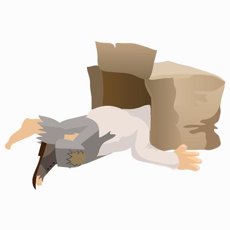 Tramp alcoholische slaap met zijn hoofd in de doos. creatieve scene