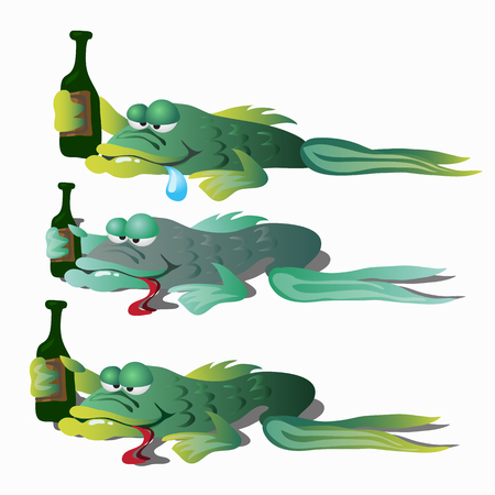 Three funny drunken fishes with bottle