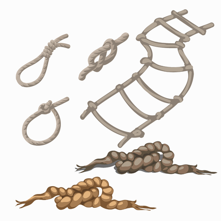 rope ladder: Set of rope elements, ladder, lasso, knots, loop, six items in cartoon style