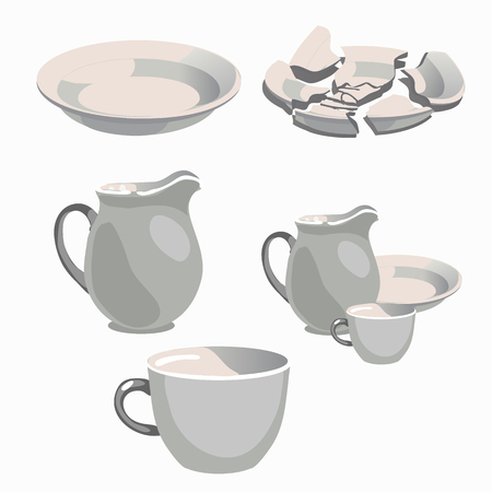 utensilios y piezas de la placa de cocina de porcelana blanca Ilustración de vector