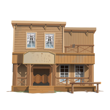saloon: Wooden classic saloon in wild West, series of vector buildings