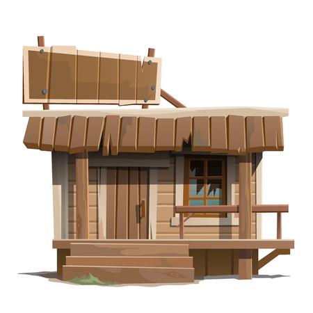 Edad abandonó la casa de madera con la muestra, serie de edificios de vectores Foto de archivo - 59225438