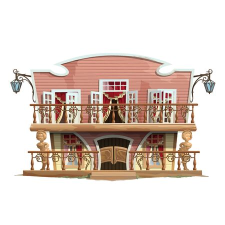 cabaret stage: Glamorous building, vintage theatre or cabaret in american style Illustration