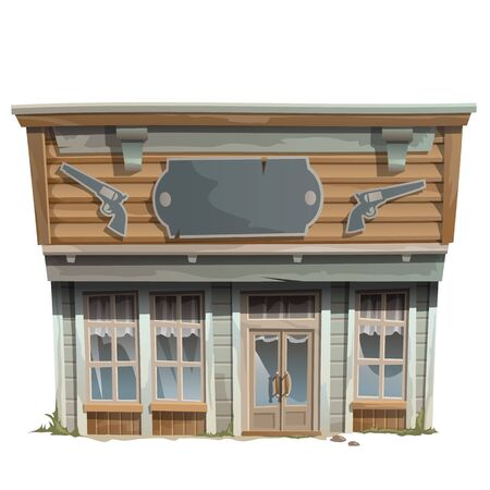 negozio di armi d'epoca della selvaggio west, serie di edifici vettore