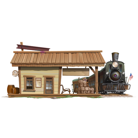 Station and vintage train in wild west style, vector buildings Vettoriali